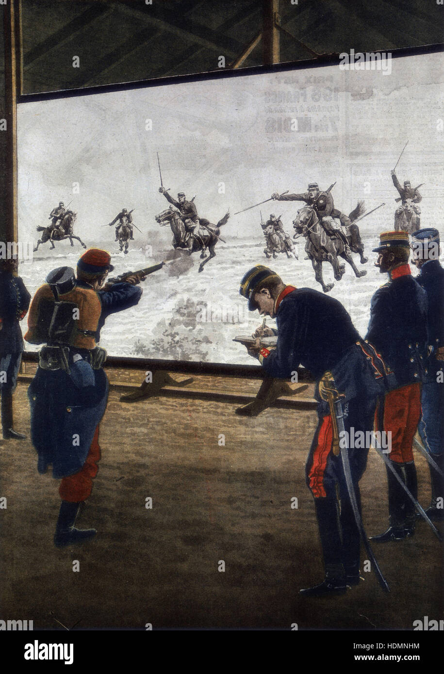 'Le Petit Journal', (Paris, 30 June 1912) - French soldiers using film of a cavalry charge for rifle practice - Stock Image