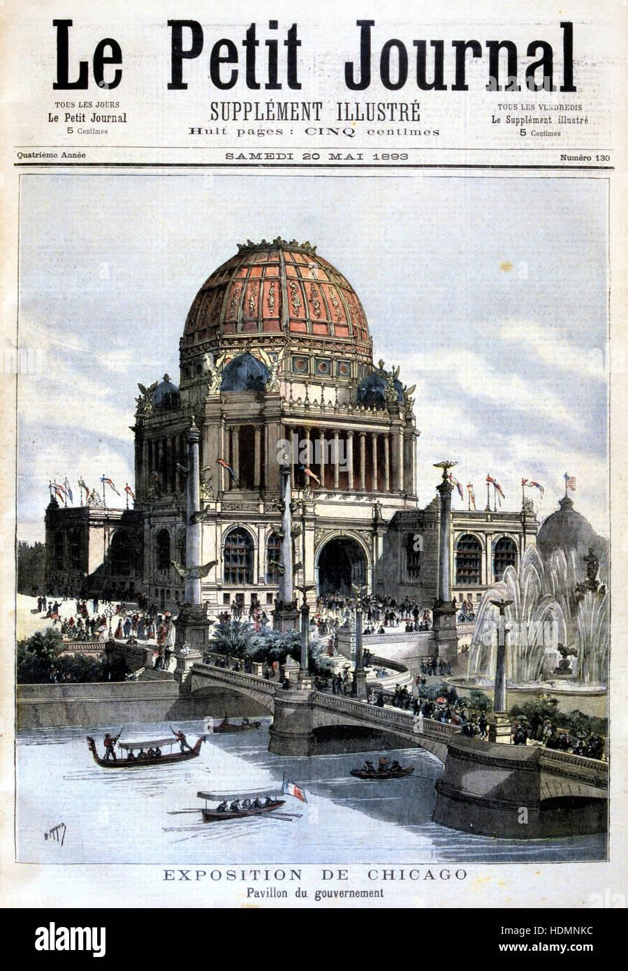 'Le Petit Journal' Paris 20 May 1893 - Chicago Exhibition, 1893 -  US  pavilion - Stock Image