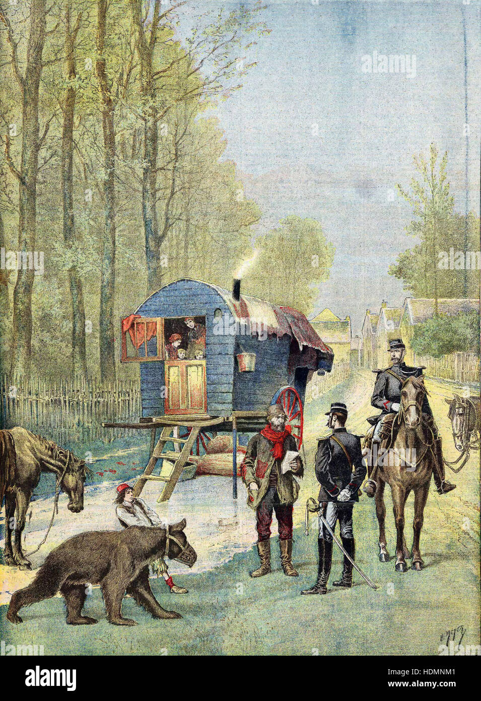 'Le Petit Journal' Paris, May 1895 - Gendarmes and gipsies - Stock Image