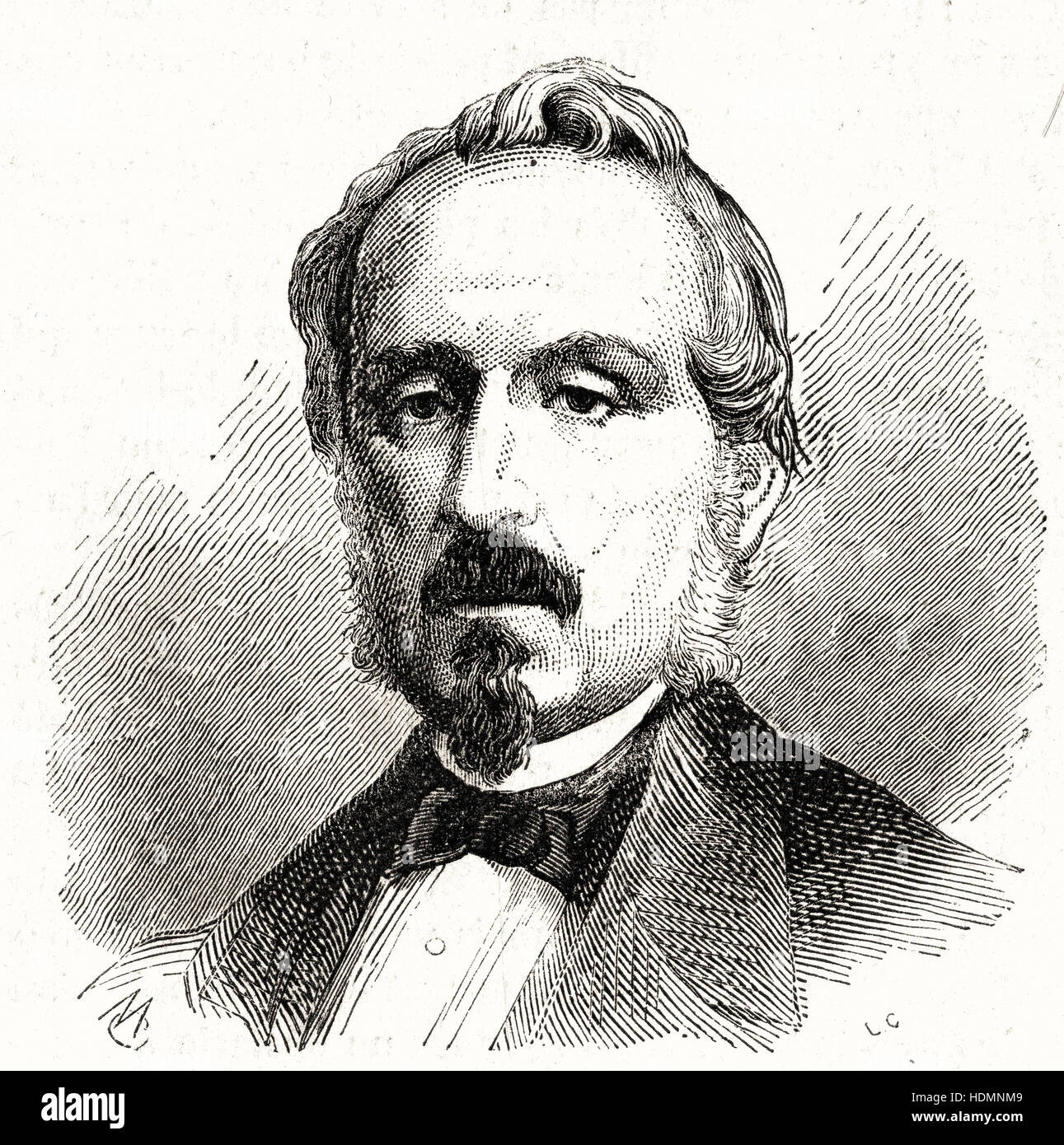 Illustration 1862 Engraving Minister General Durando - Stock Image