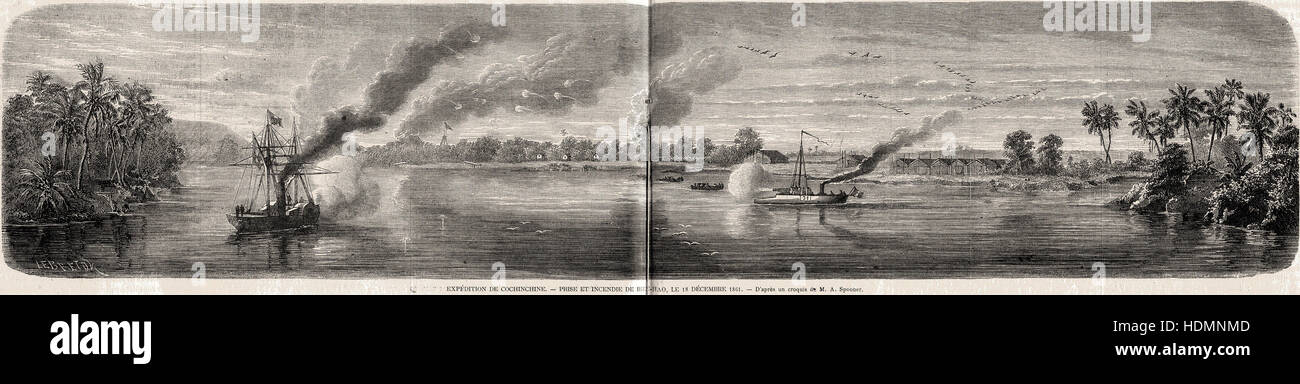 Illustration 1862 engraving The shipment of Cochinchina - capture and fire of Bien-Hao 18 December 1861 - Stock Image