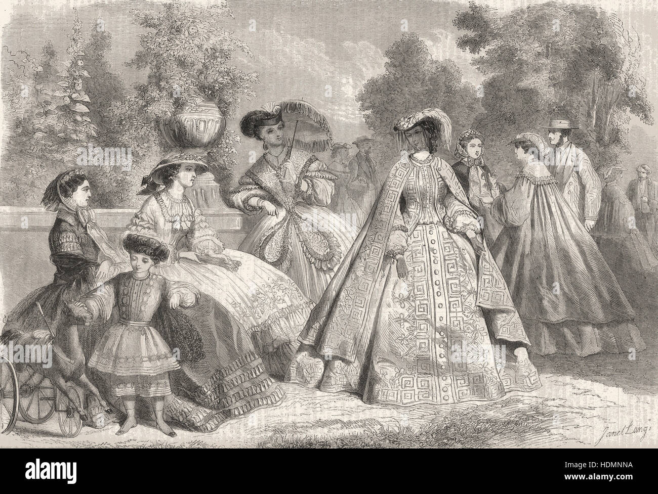 Summer Fashion, Illustration, 1861-08-11 - Stock Image