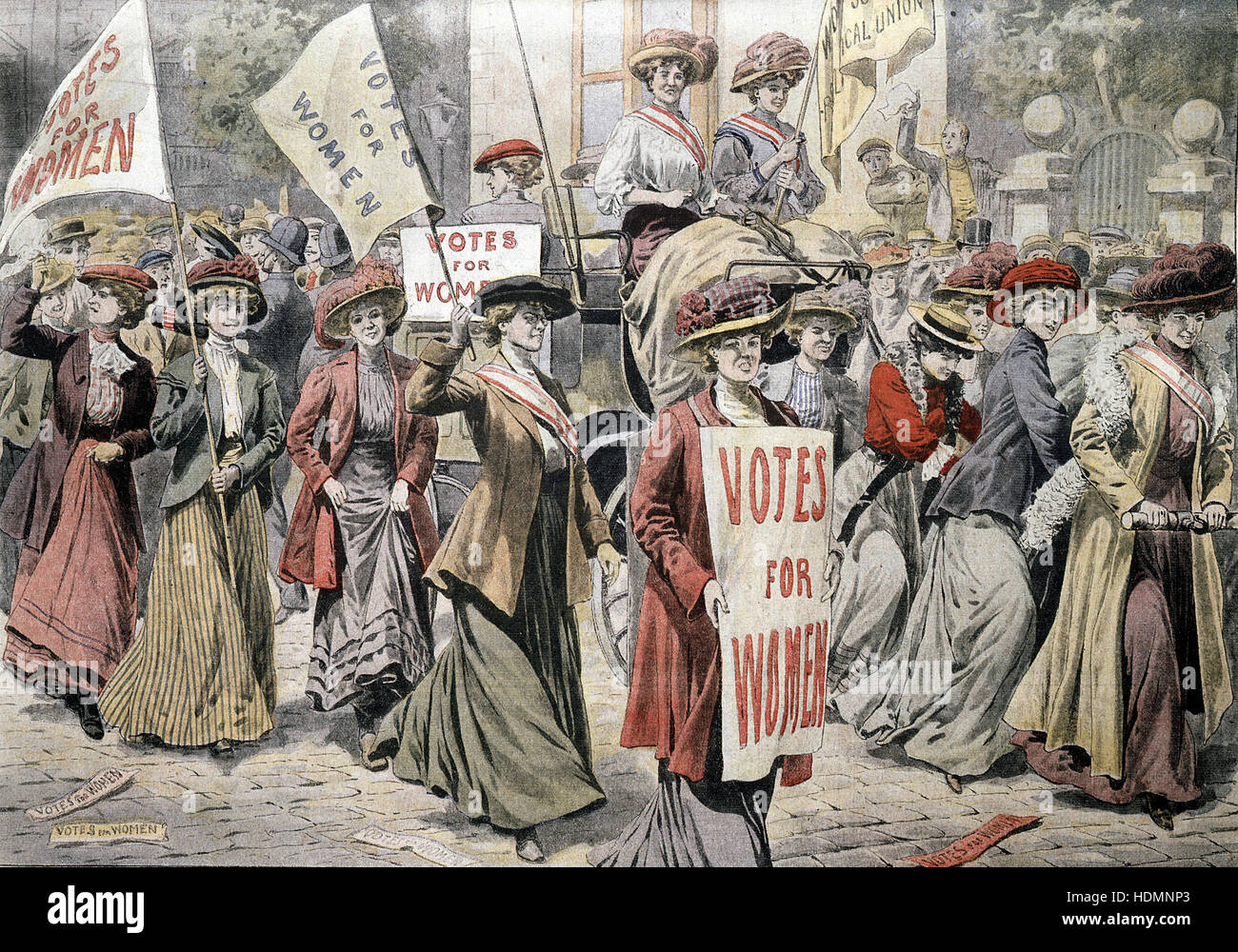 'Le Petit Journal' 6 September 1908 - English suffragettes Edith New and Mary Leigh released from Holloway - Stock Image