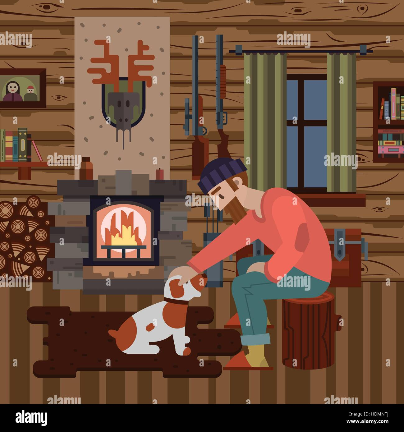 Cozy interior of hunter wood house with different items: logs, guns, fireplace. Hunter with dog. Modern flat style - Stock Vector