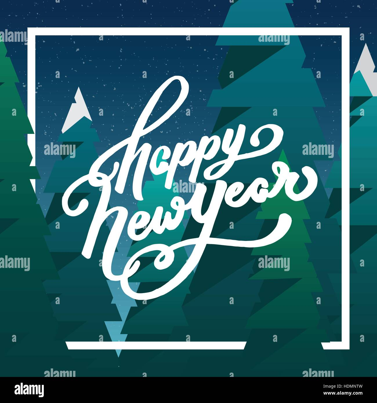 new year hand lettering and cartoon green blue elements happy new year greeting card with hand drawn text cartoon fir tree background vector illust