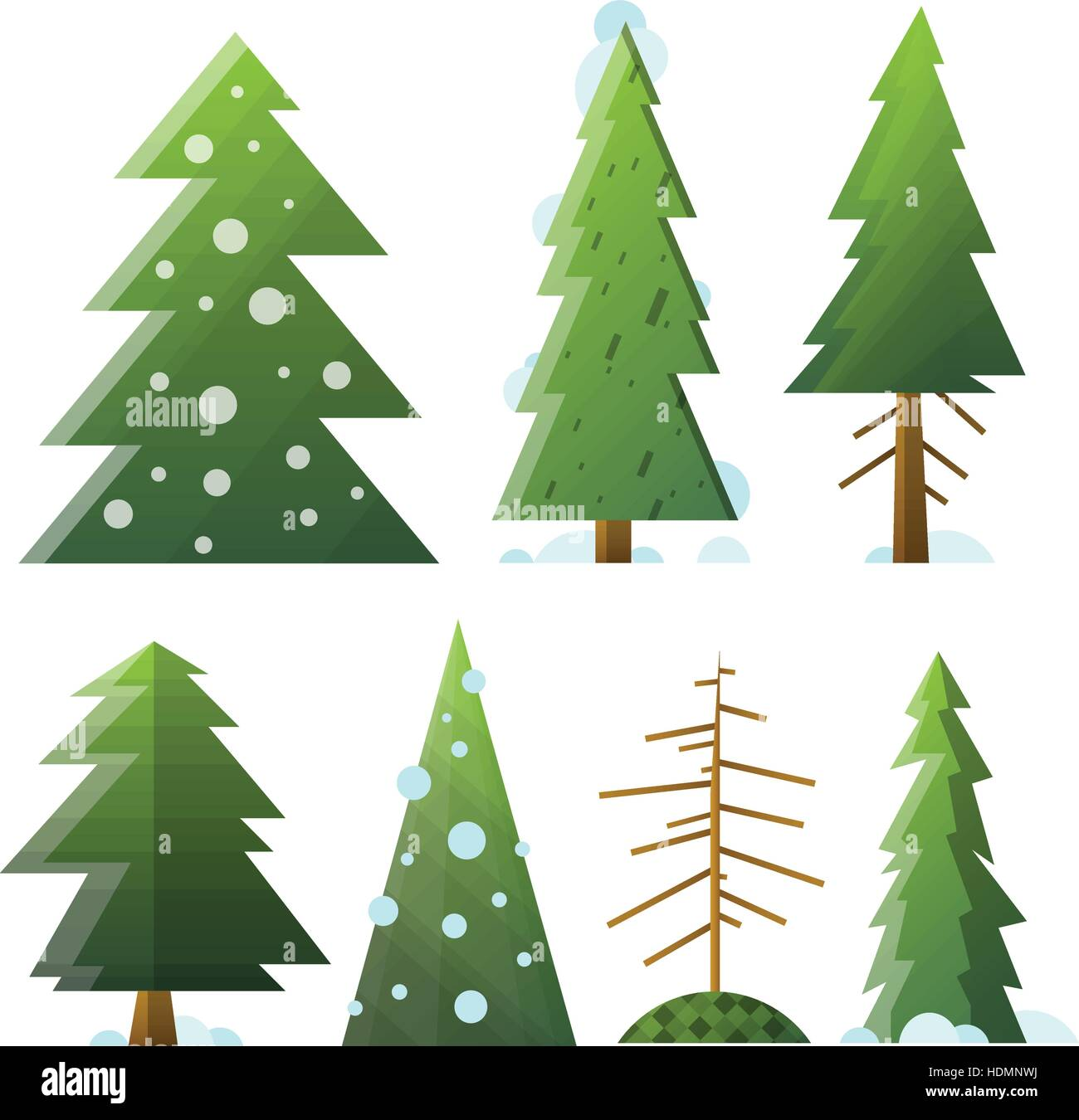 Collection of different cartoon green and dead fir trees. Isolated fir trees with snow for Happy New Year and winter - Stock Vector