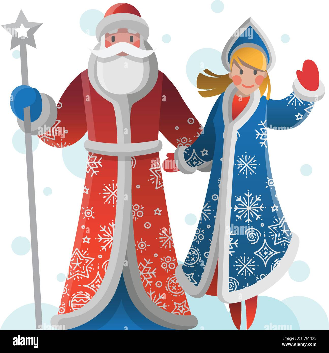 new year greeting card with cartoon father frost and snow maiden christmas gift card with santa claus winter holiday xmas postcard with ded moroz an