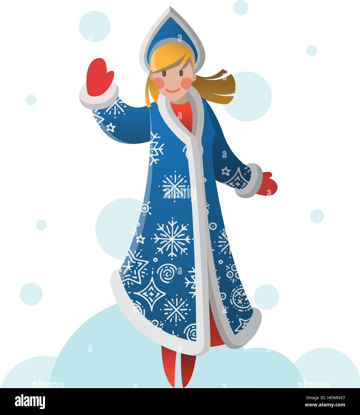 New year greeting card with cartoon snow maiden christmas gift card new year greeting card with cartoon snow maiden christmas gift card with snow girl winter holiday xmas postcard with snegurochka vector illustratio m4hsunfo