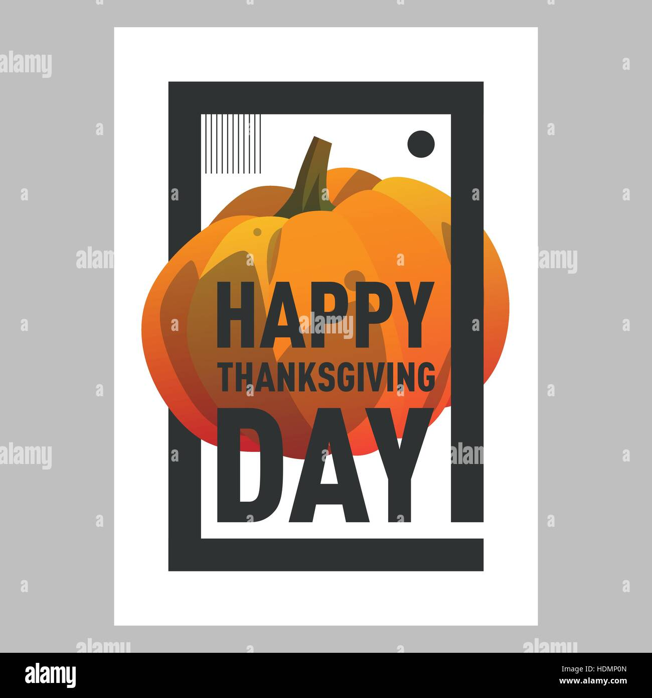 Happy Thanksgiving Day Postcard Template With Pumpkin Modern Cartoon Style Gradient Autumn Holiday Postca