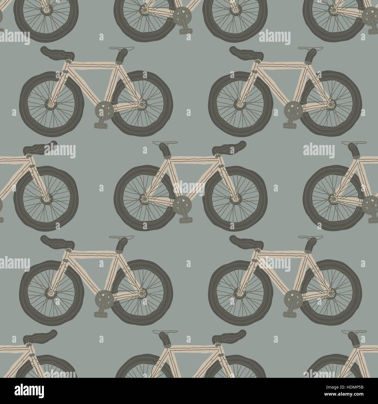 Hand Drawn Single Speed Fixed Gear Bicycle Seamless Pattern For
