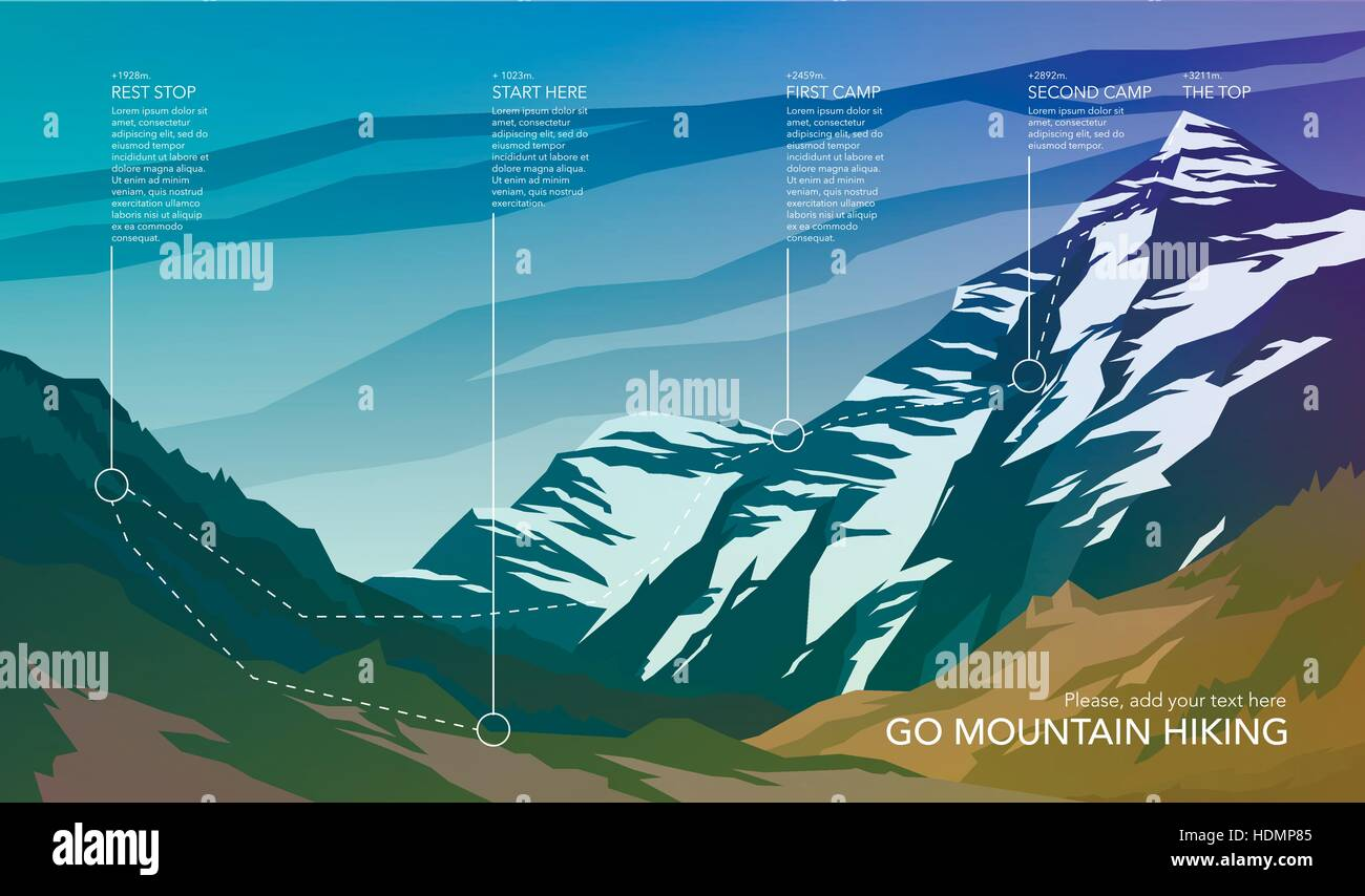 High mountain landscape infographic. Hiking trail in national park. Wilderness. Spectacular view. Web banner. Vector - Stock Vector