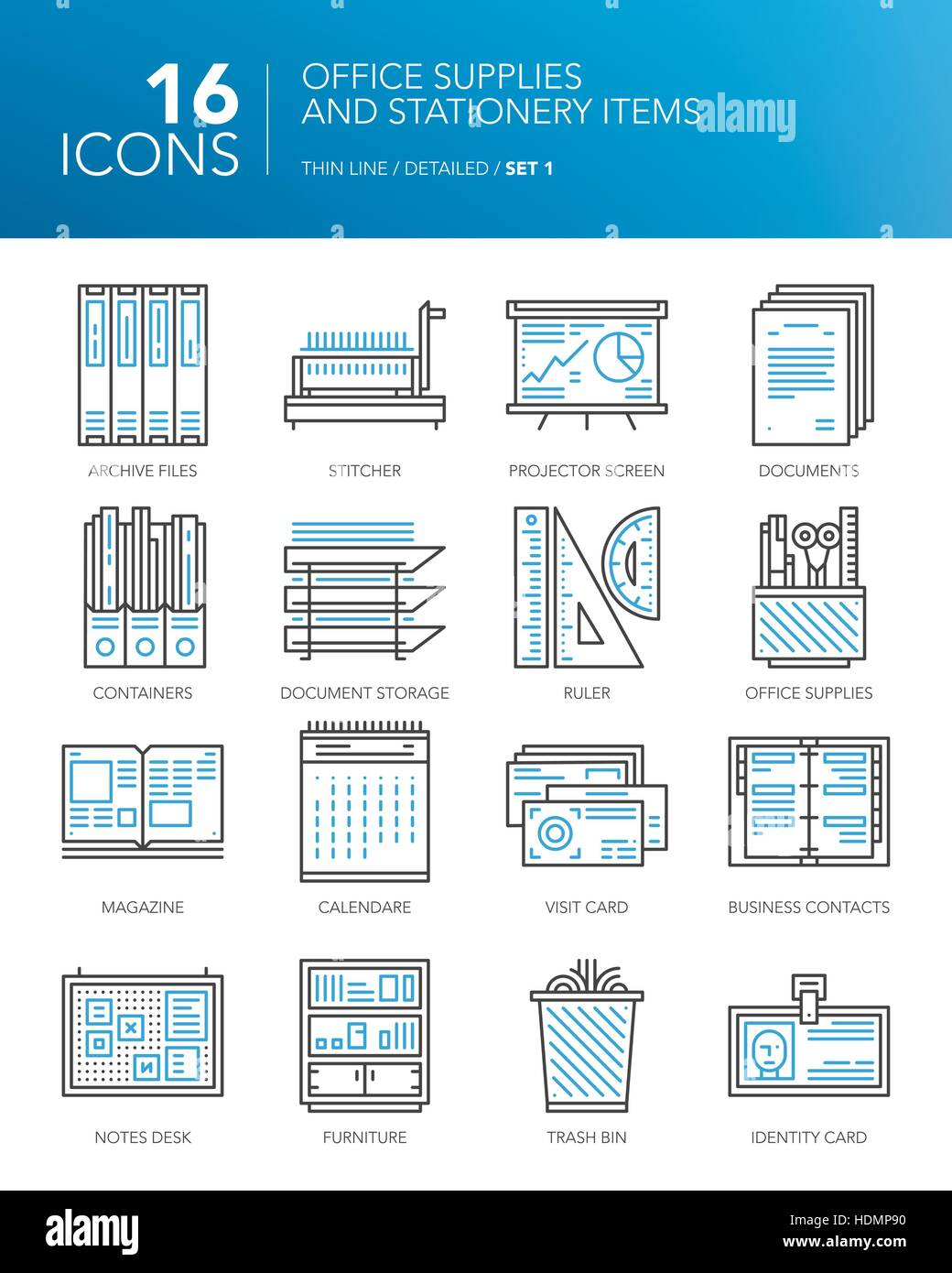 Detailed thin line icons for office and business. Office supplies and stationery items. Documents, calendar, rulers, - Stock Vector