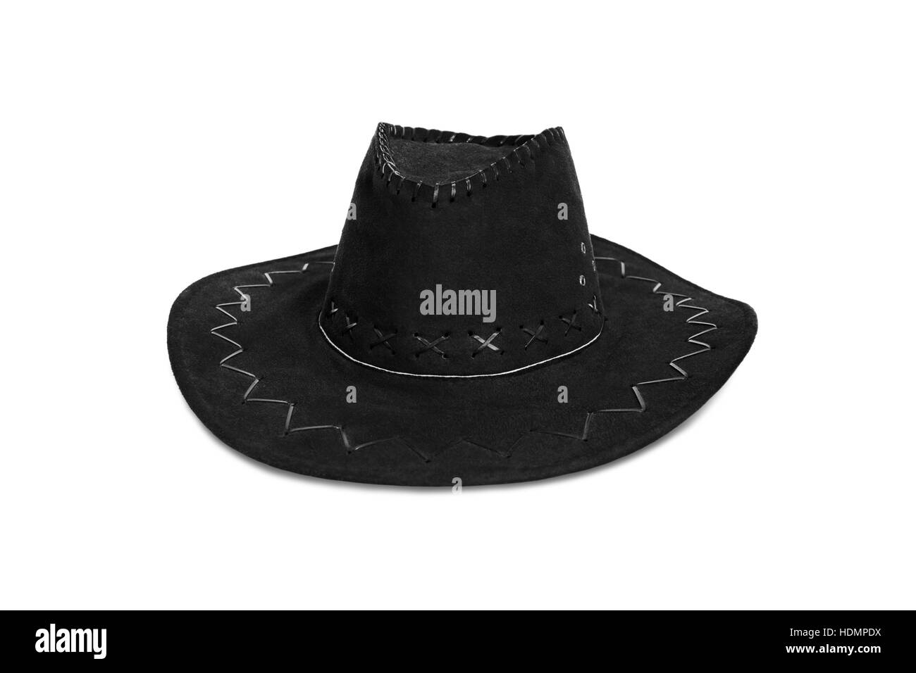 b9a0ff54c20 black cowboy hat isolated on white background - Stock Image