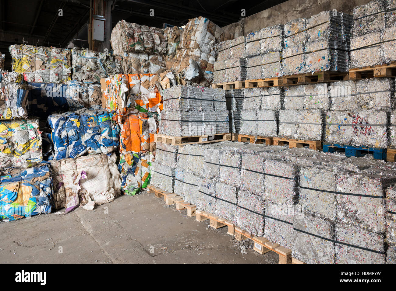 Sorted and baled garbage, plastic, aluminum, paper, recycling - Stock Image