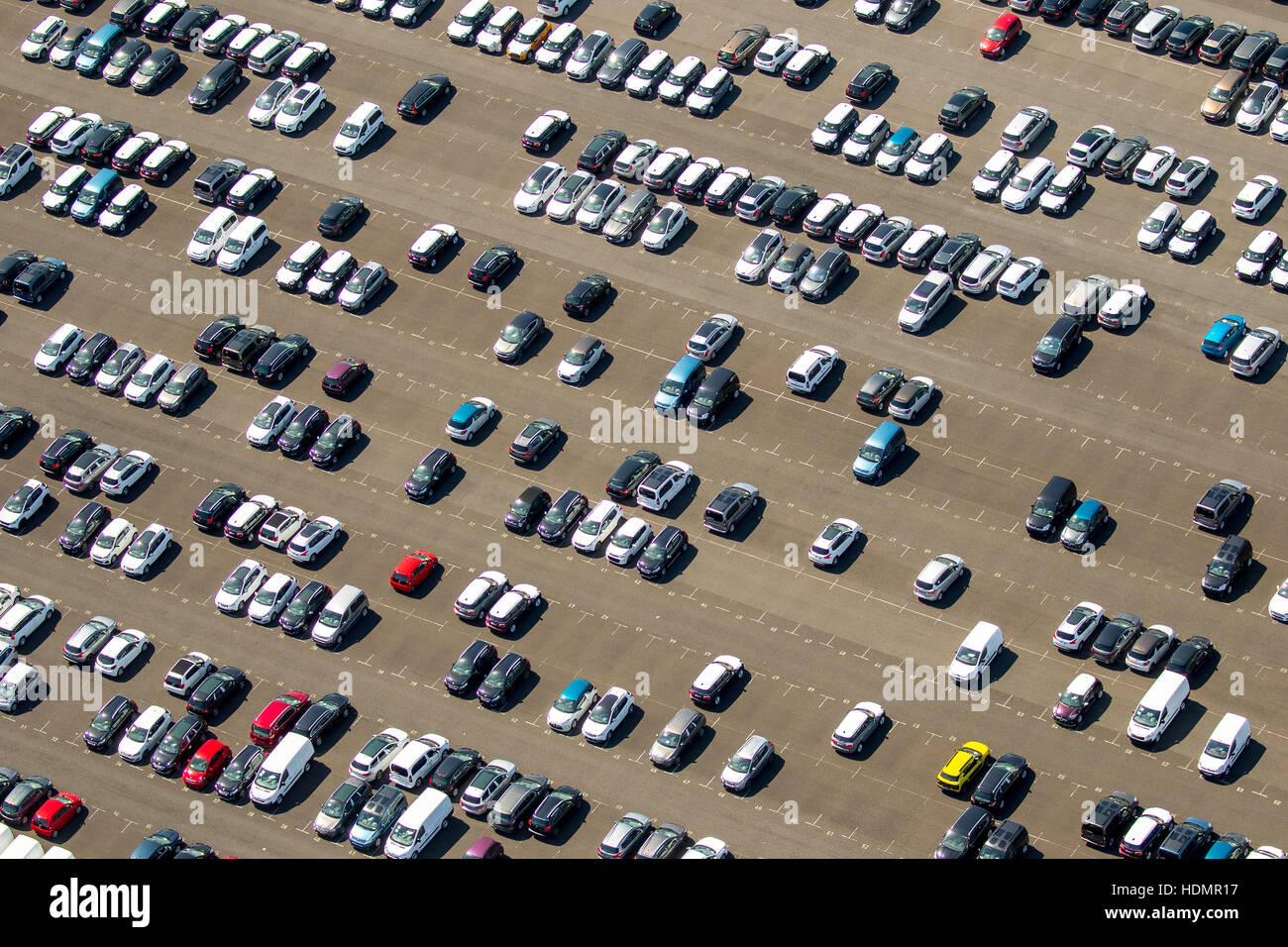 Aerial photograph, new car parking lot, Citroen, Peugeot, Ford, colourful rows of cars, Wallenius Wilhelmsen Logistics, - Stock Image