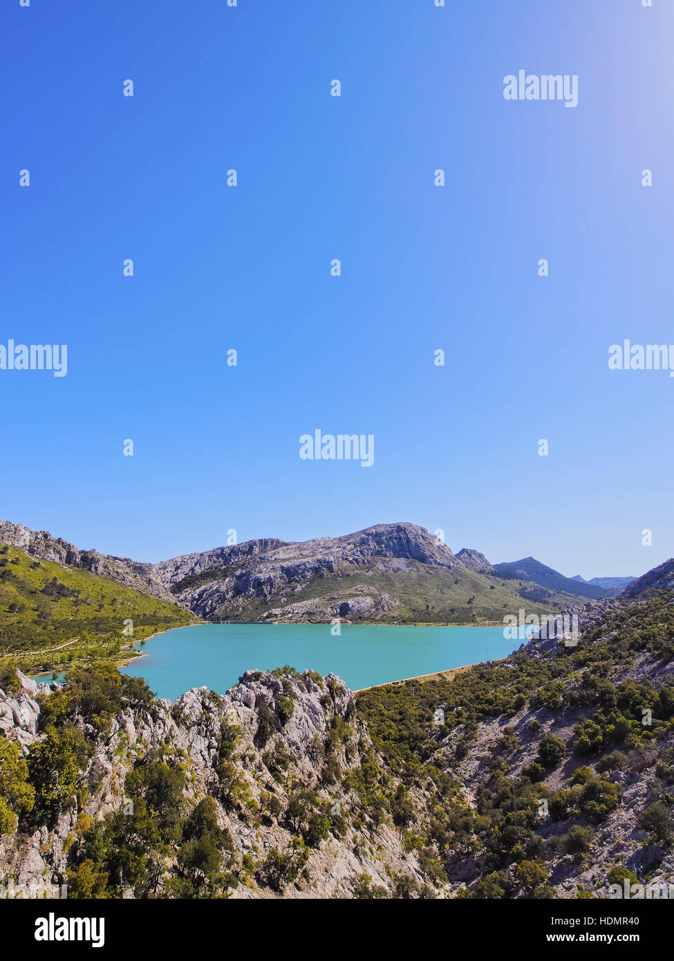 Artificial lake, Embalse de Gorg Blau, Serra de Tramuntana, UNESCO World Heritage Site, Majorca, Balearic Islands, - Stock Image