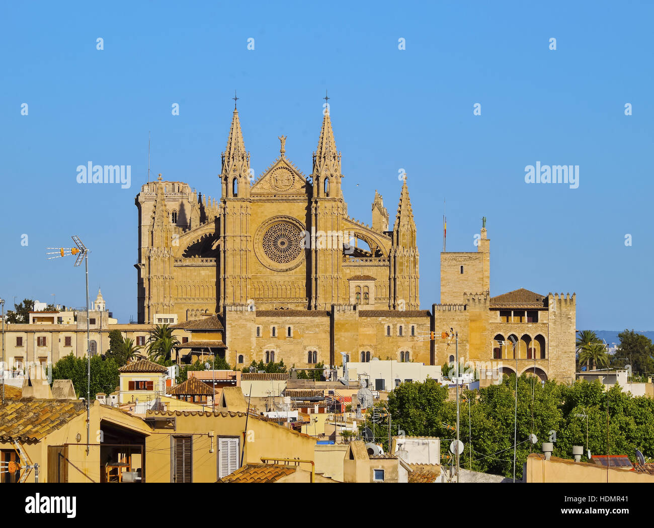 Cathedral La Seu, Palma de Mallorca, La Palma, Balearic Islands, Spain - Stock Image