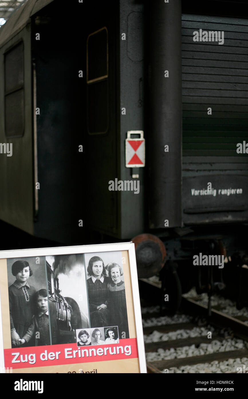 Zug der Erinnerung, Train of Remembrance, at Dresden central station, Saxony - Stock Image