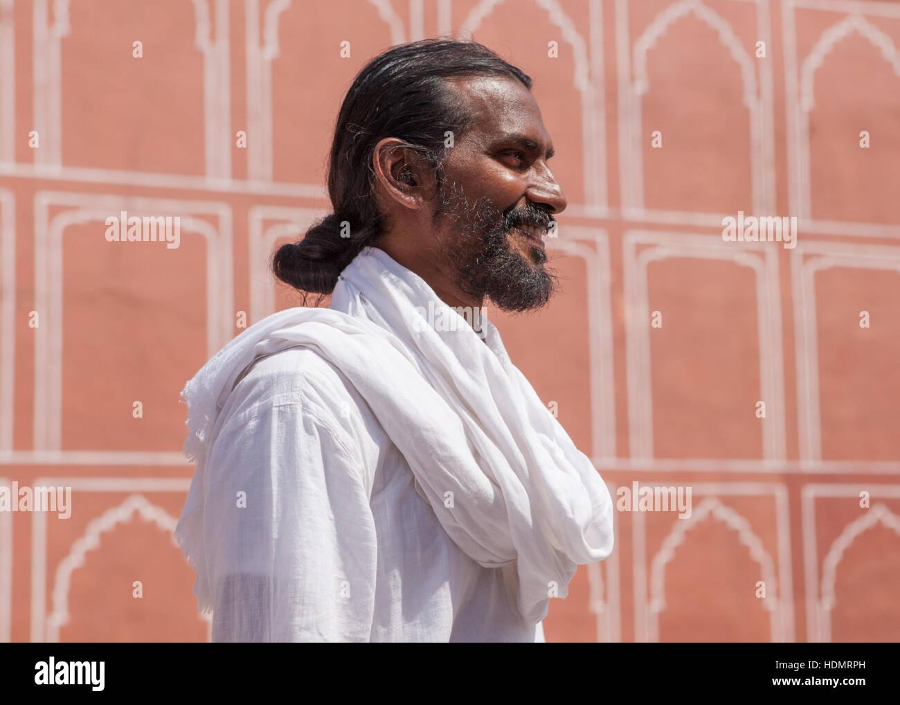 Portrait of  Indian yoga guru at the City Palace,Jaipur Rajasthan,India. - Stock Image