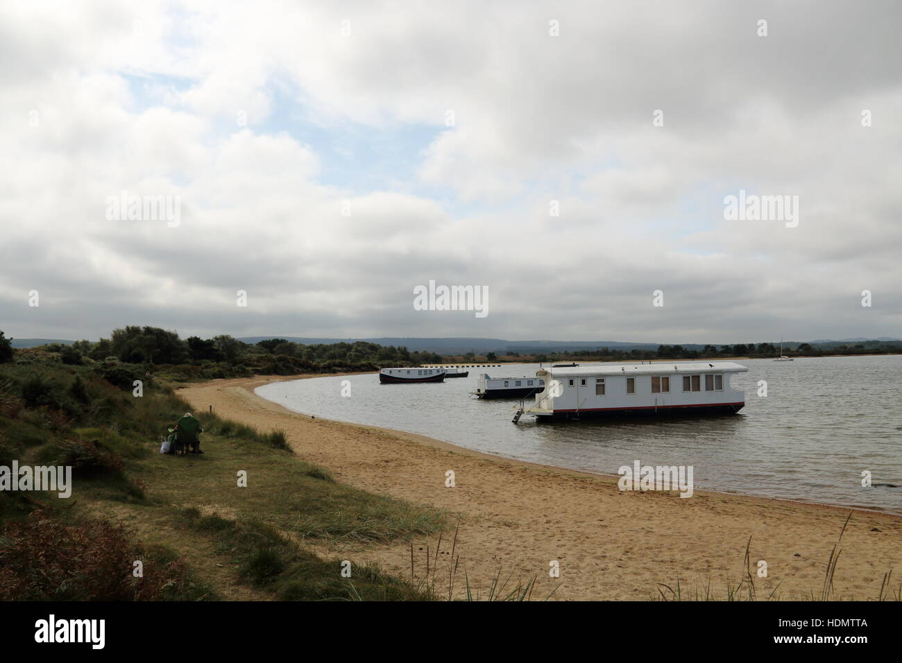 House boats in Poole harbour,Dorset,UK Stock Photo