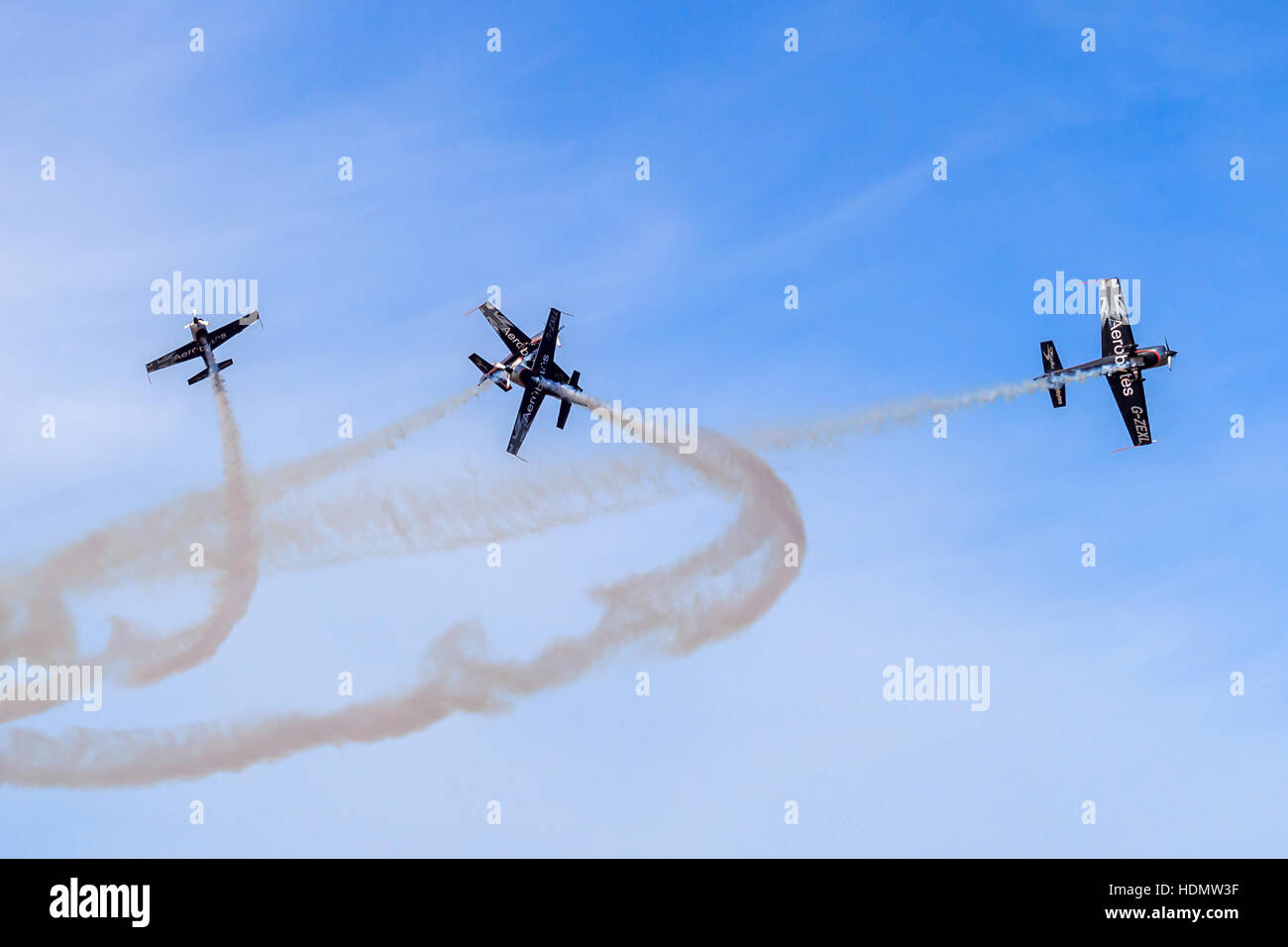 The Blades Aerobatic team performing their display maneuvers at the southport airshow - Stock Image