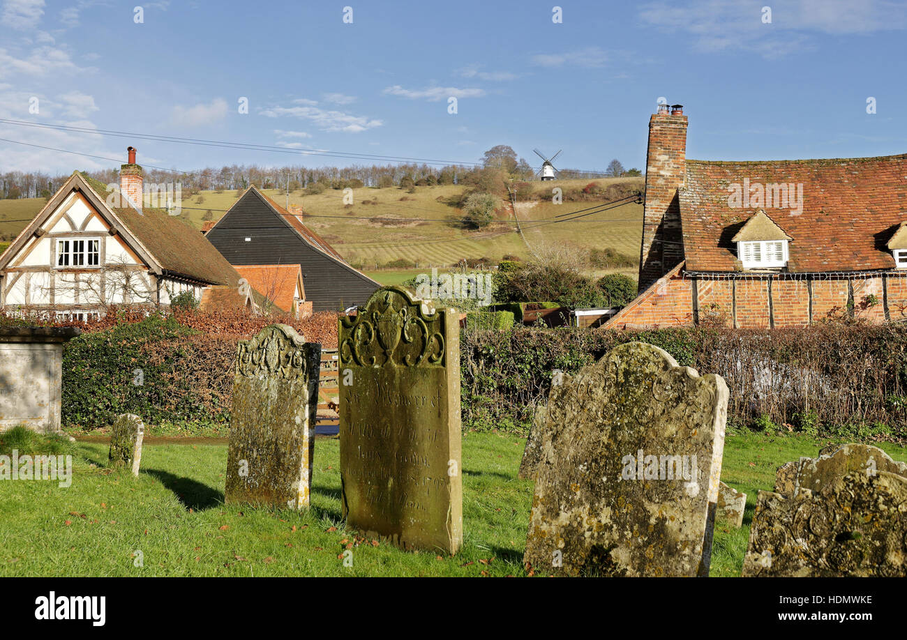English Landscape overlooking the Village of Turville in the Chiltern Hills with windmill on the hill - Stock Image