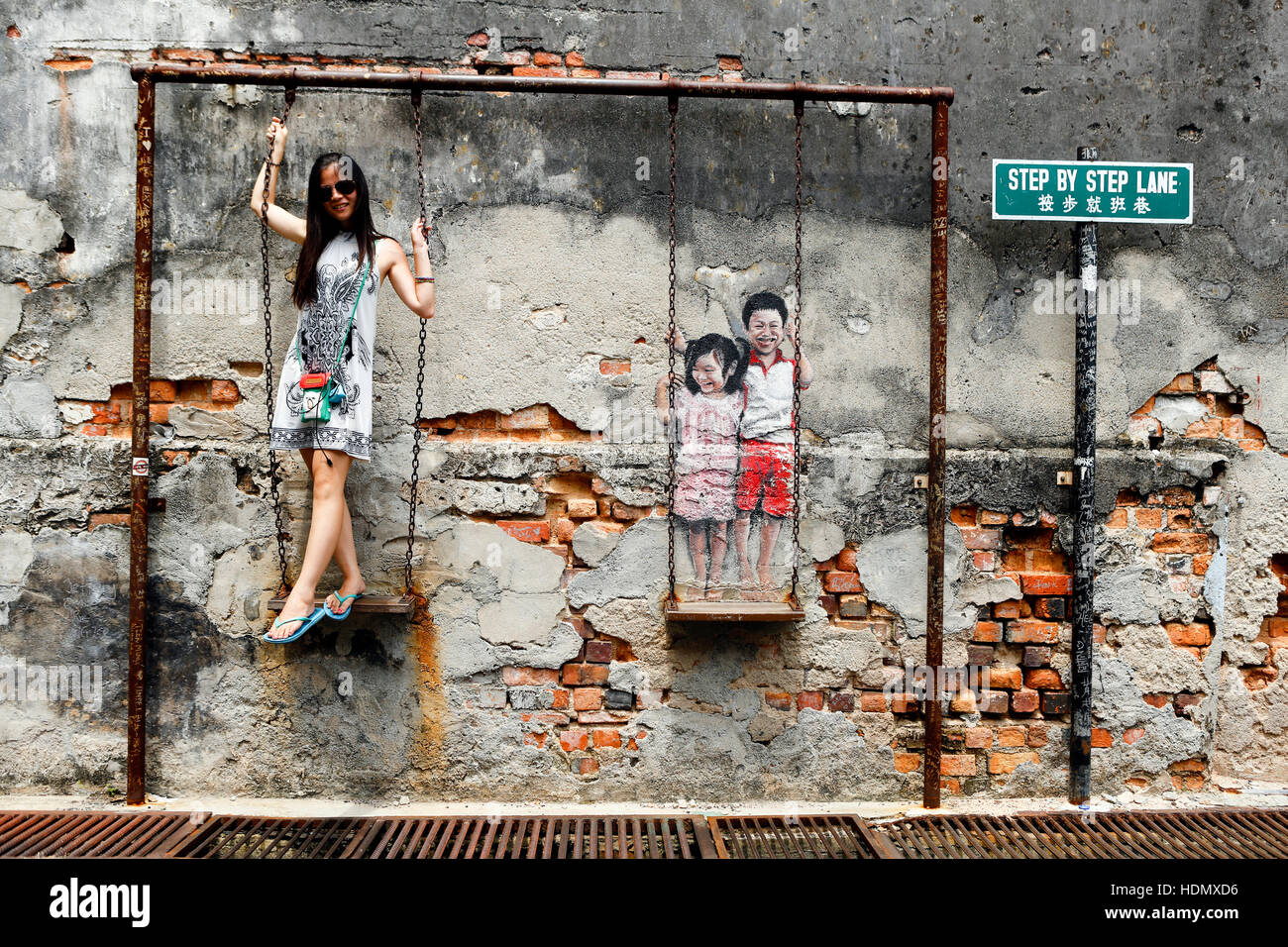 Georgetown Penang Wall Mural Street Art Stock Photo