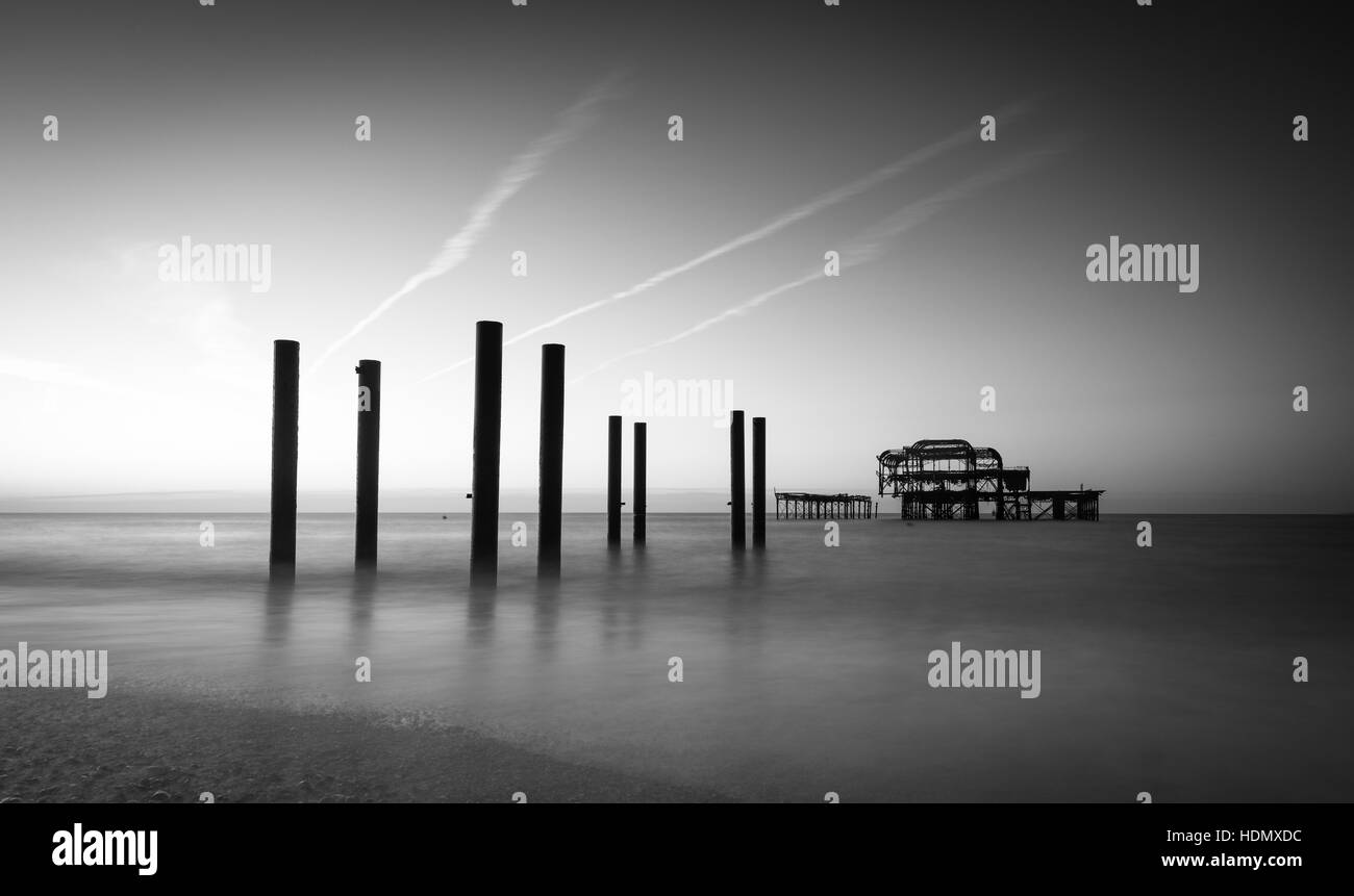 Brighton Beach and West Pier seascape in black and white Stock Photo