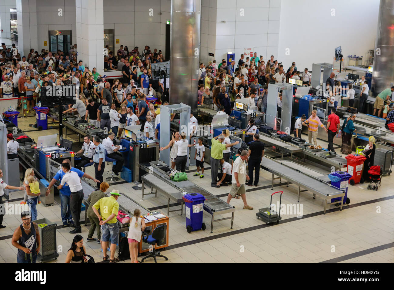 Security and passport control at Antalya International Airport, Turkey. - Stock Image