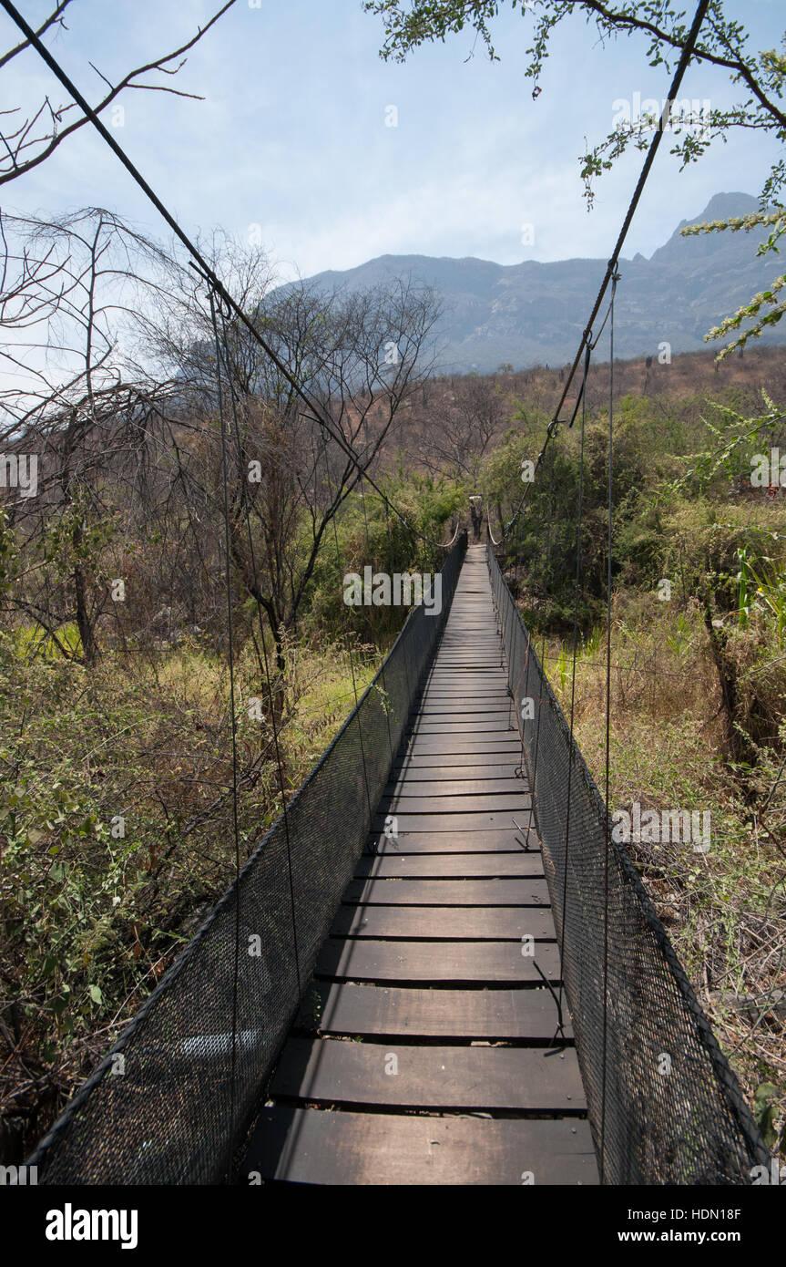 Rope-bridge in the Chaparri Reserve in Lambayeque, northern Peru Stock Photo