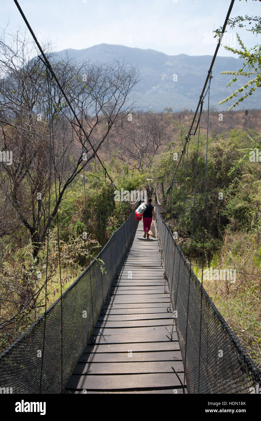 Lady carrying items across a rope bridge in Chaparri Reserve northern Peru Stock Photo