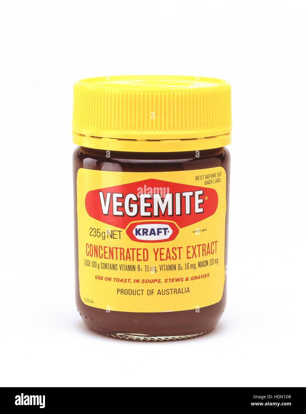 Jar of Australian Vegemite spread, Sydney, New South Wales, Australia - Stock Image