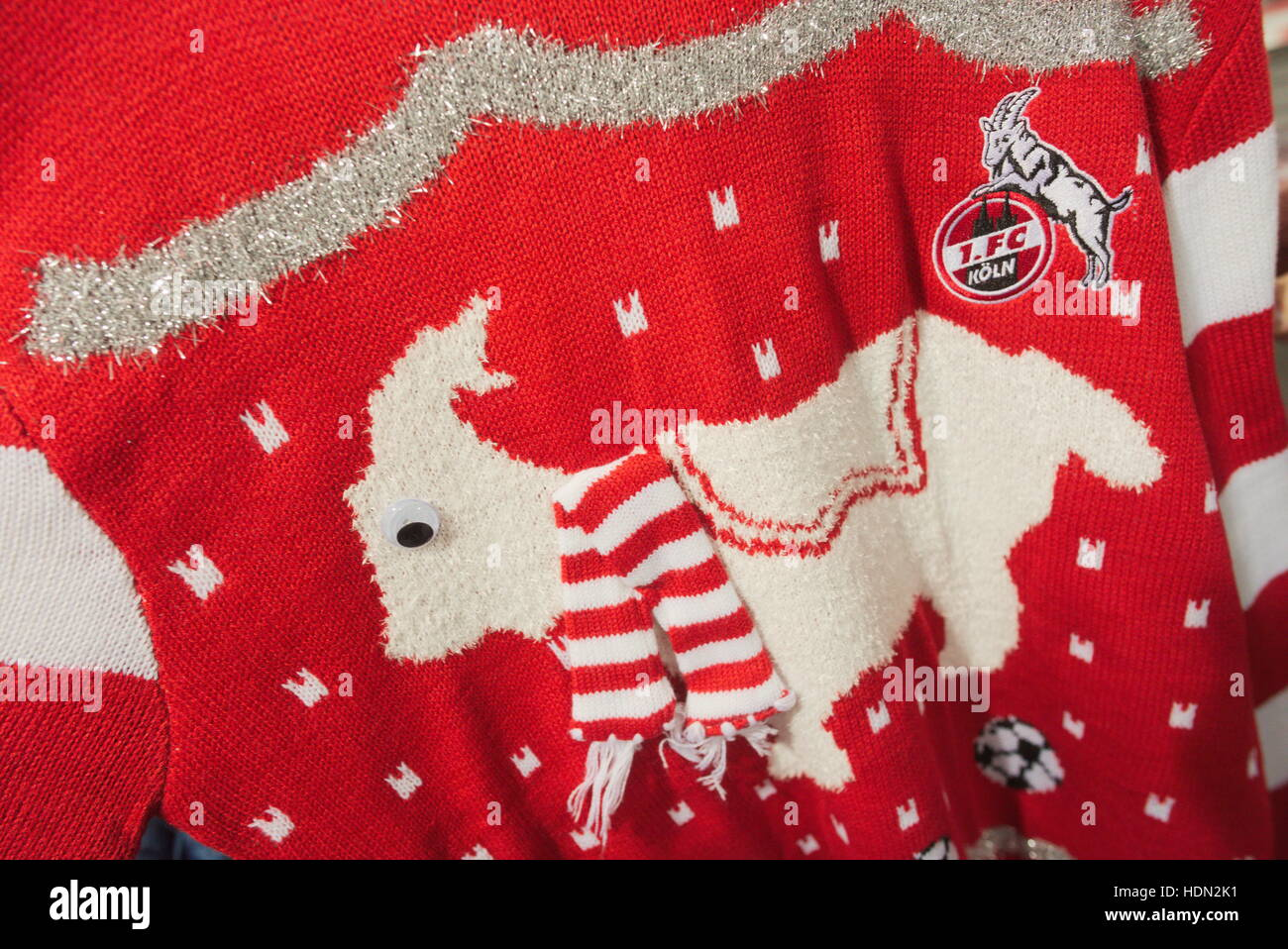Cologne, Germany. 7th Dec, 2016. A Christmas sweater with the club mascot of 1. FC Cologne, the billy goat Hennes - Stock Image