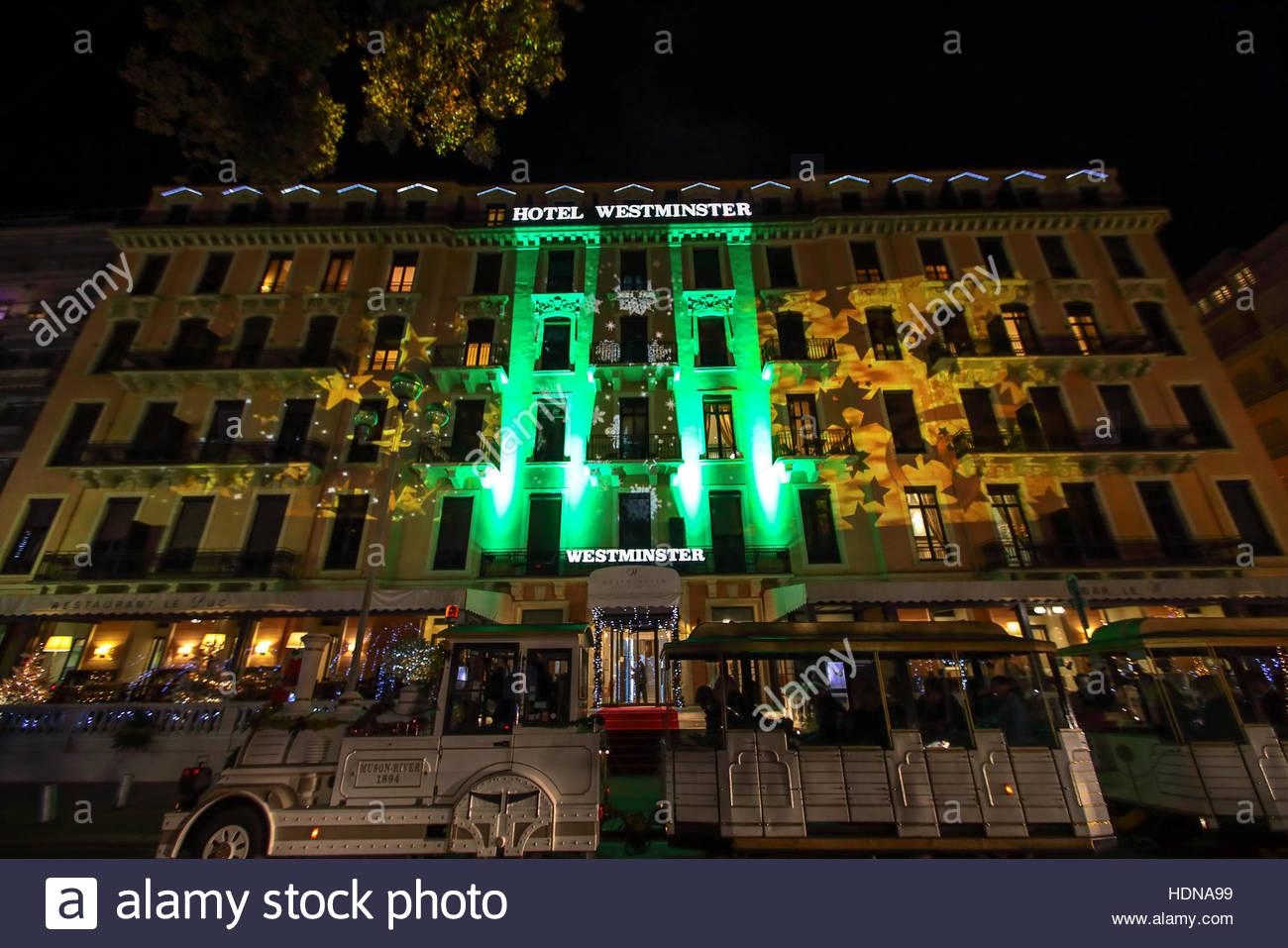13th dec 2016 a hotel on the famous promenade des anglais a promenade along the mediterranean is illuminated by artist gaspare di caro to mark five