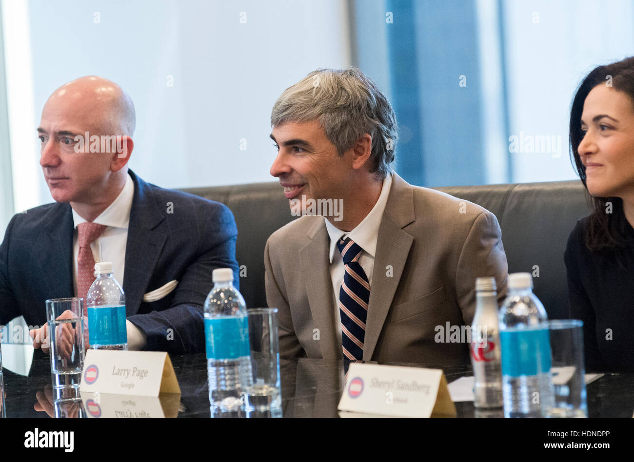New York Usa 14th December 2016 L R Jeff Bezos Larry Page And