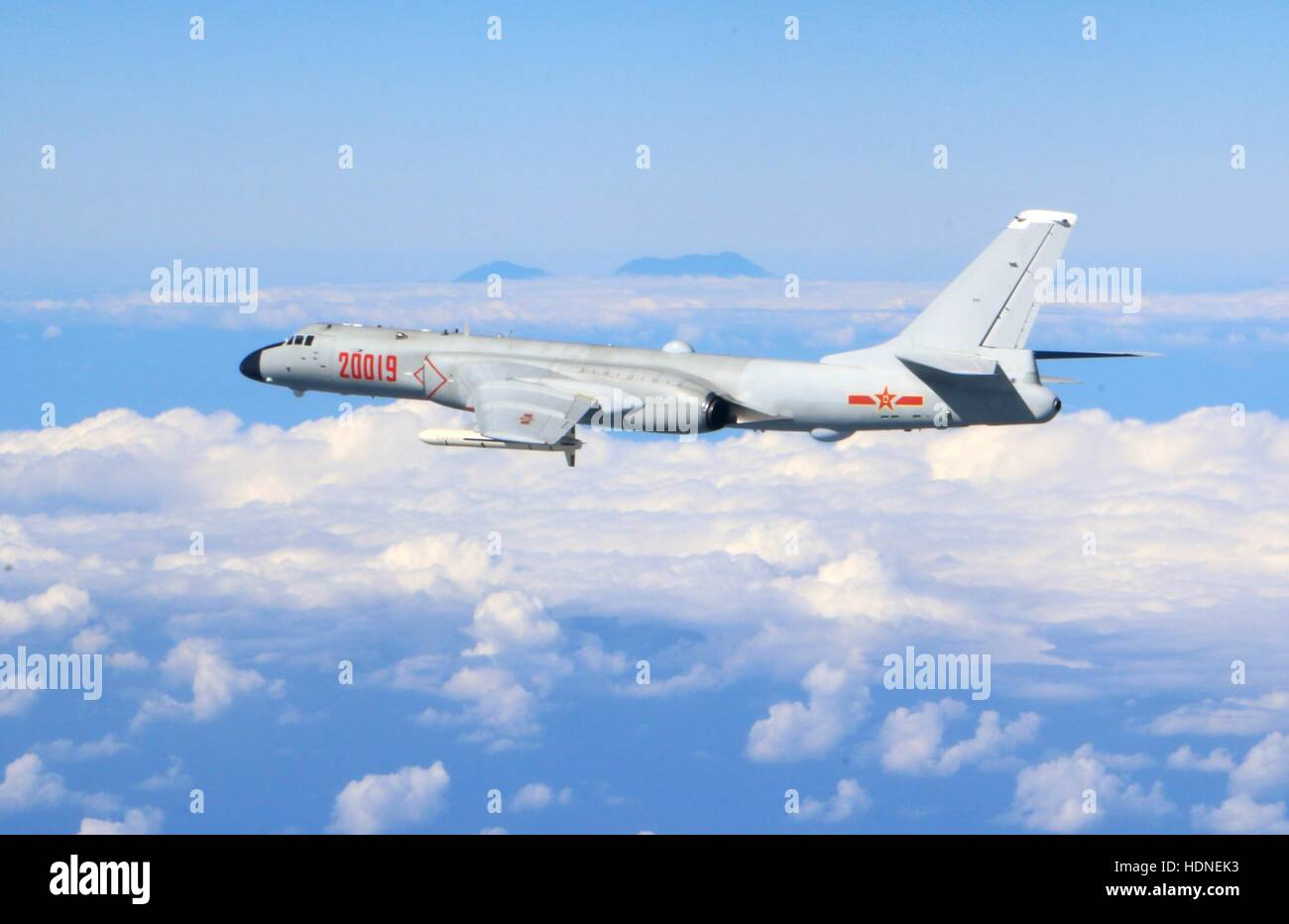 Beijing, China. 15th Dec, 2016. File photo shows an H-6K bomber of the Chinese Air Force taking part in a high sea - Stock Image