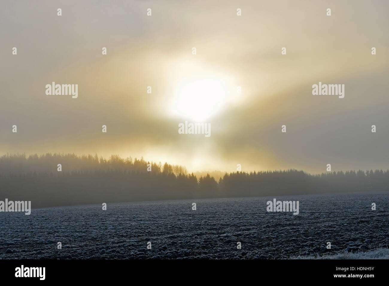 Sun shining through clouds and fog. Location: Aura, Finland - Stock Image