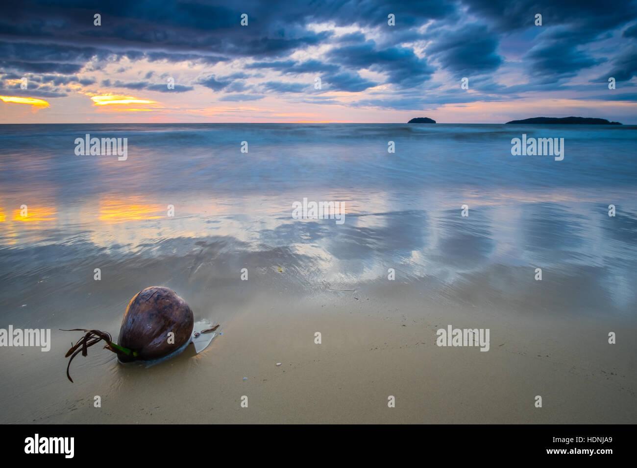 Sunset at Tanjung Aru beach, Kota Kinabalu. Stock Photo