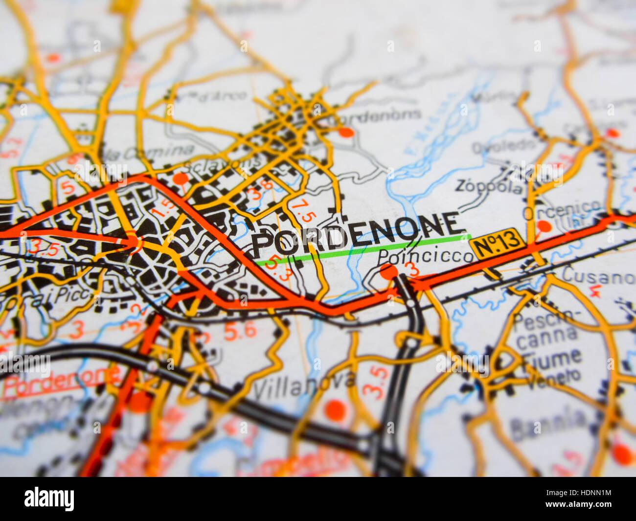 Pordenone City Over A Road Map Italy Stock Photo 128940608 Alamy