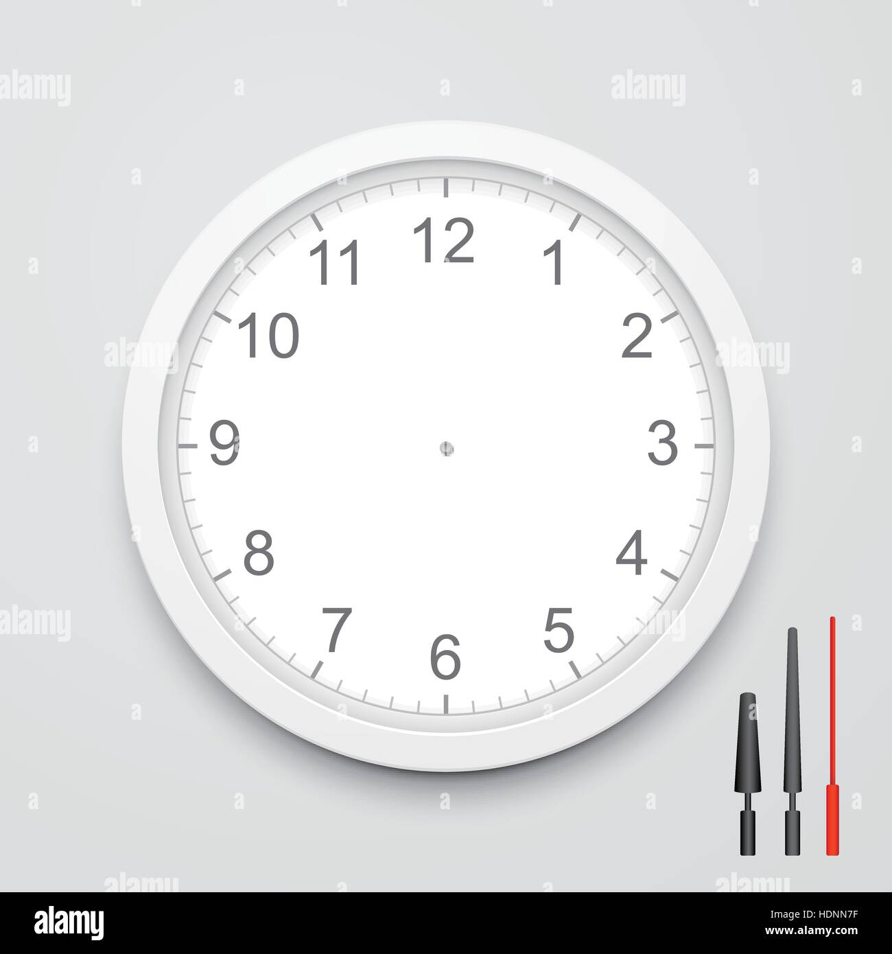 3d vector blank clock face with hour minute and second hands stock 3d vector blank clock face with hour minute and second hands isolated on white background thecheapjerseys Images