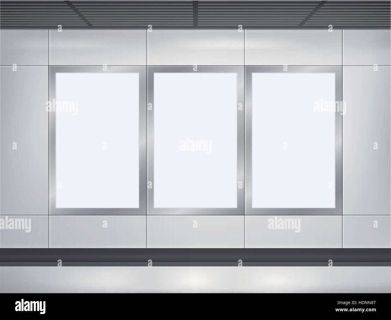 Vector 3d Blank Billboard And Lightbox Template On The Wall Stock