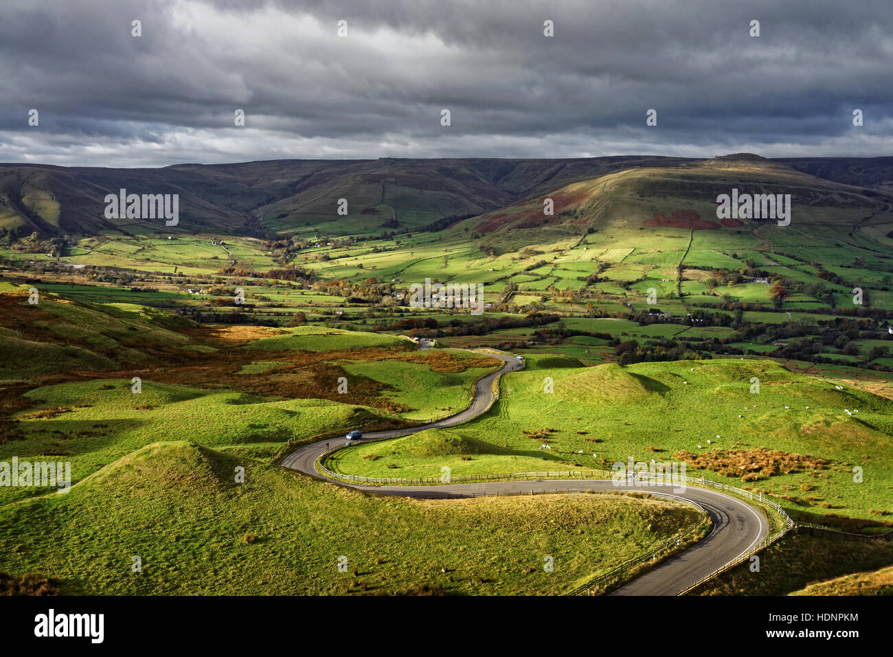 UK,Derbyshire,Peak District,Winding Road from Mam Tor To Edale - Stock Image