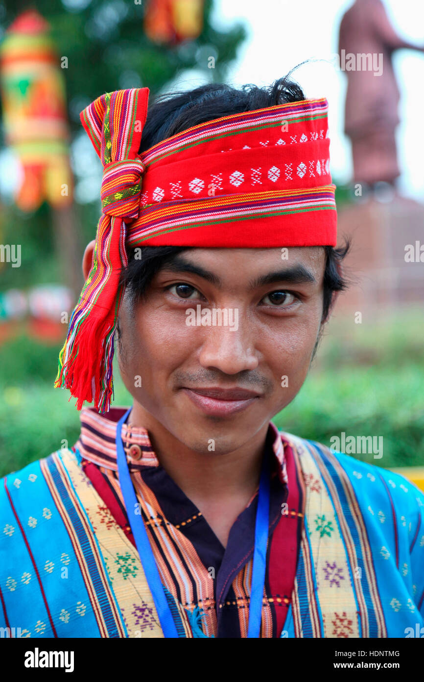Debbarma Tribal Man from Tripura India Wearing a colourful Risa headgear. Tribal Festival in Ajmer, Rajasthan, India - Stock Image