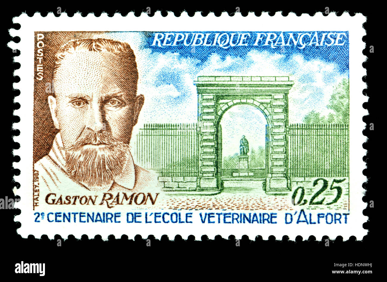 French postage stamp (1967) : Professor Gaston Ramon (1886-1963) French veterinarian and biologist best known for - Stock Image