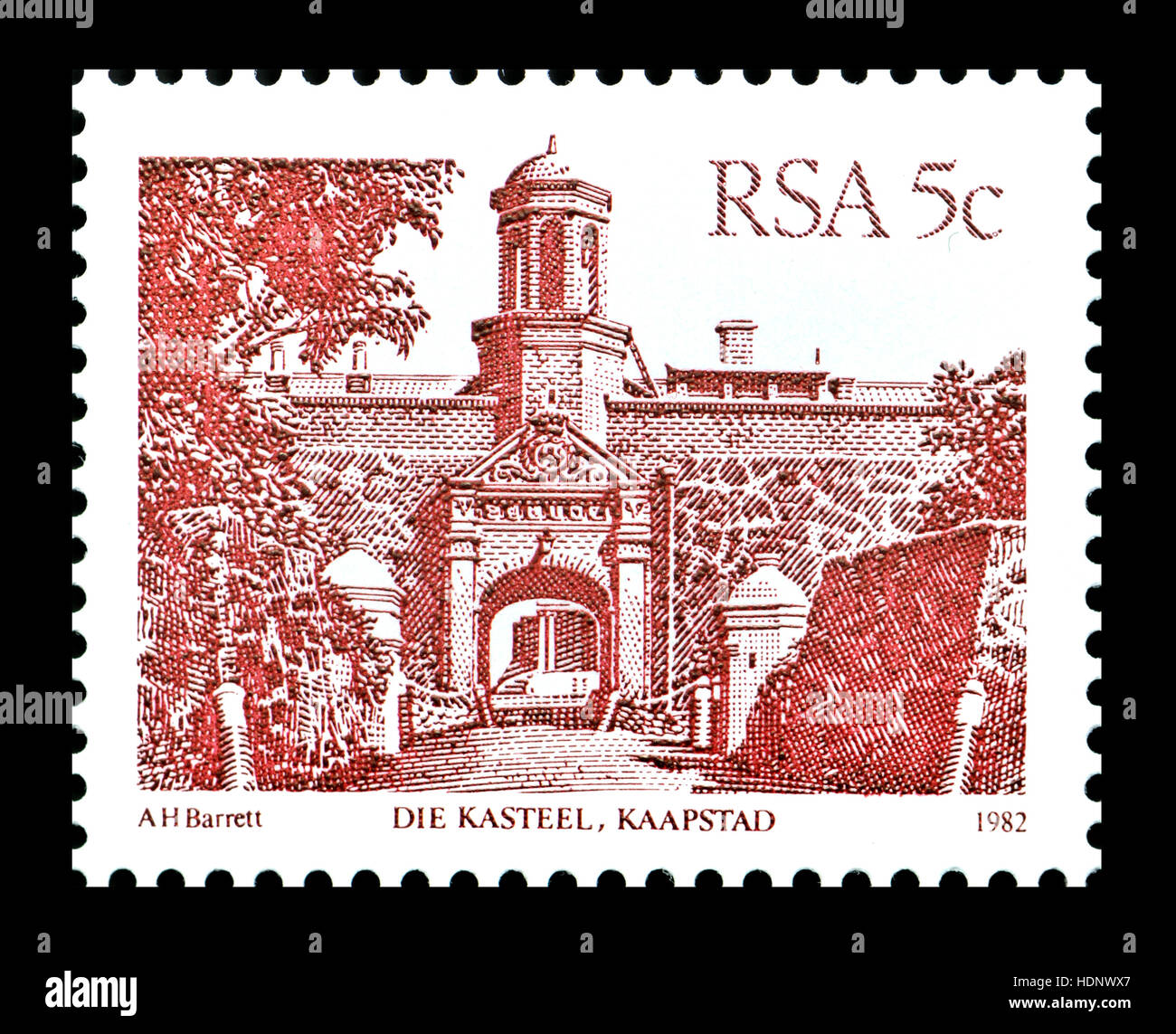South African 5c postage stamp (1982) : Die Kasteel, Kaapstad / Castle of Good Hope, Cape Town - Stock Image