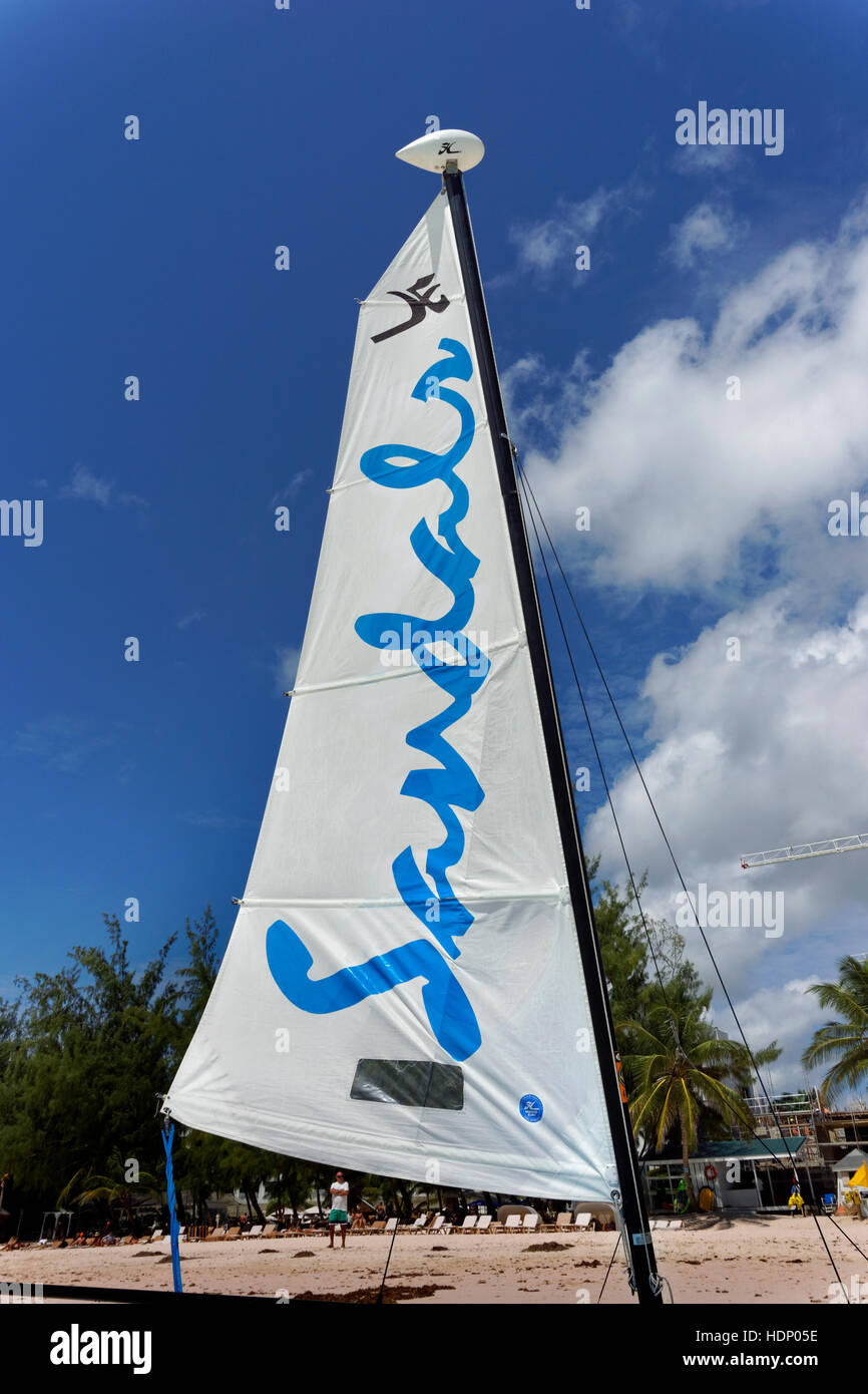 Sail of a Sandals Beach Resort Hobie Cat. Stock Photo