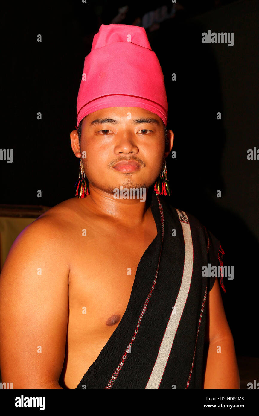 Maring Tribal Man with Traditional Headgear from Manipur India. Tribal Festival in Ajmer, Rajasthan, India - Stock Image