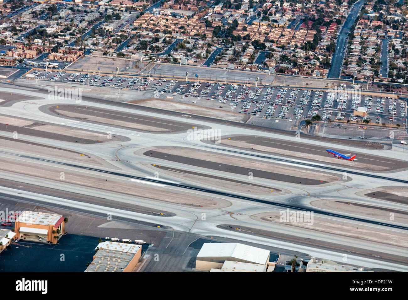 Aerial view of Las Vegas city and airport, Nevada, USA - Stock Image