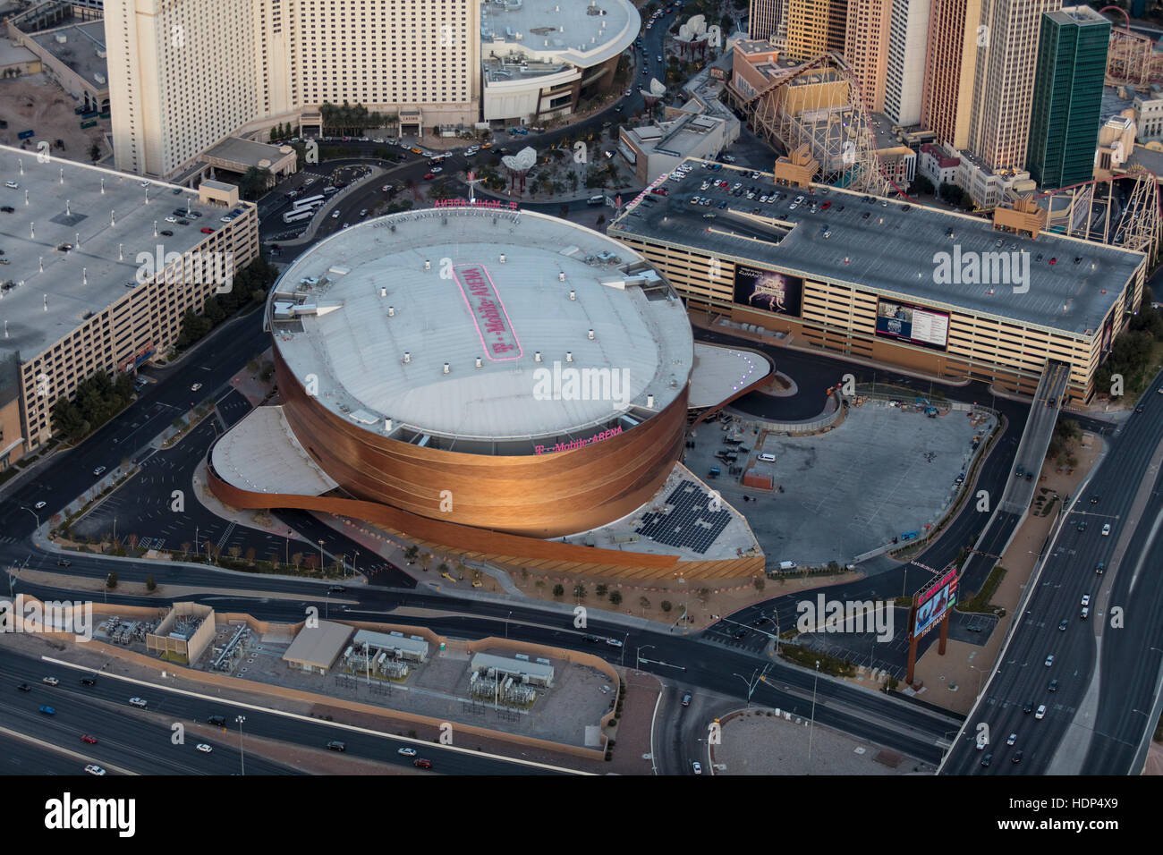 Aerial View Of T Mobile Arena On The Strip Las Vegas