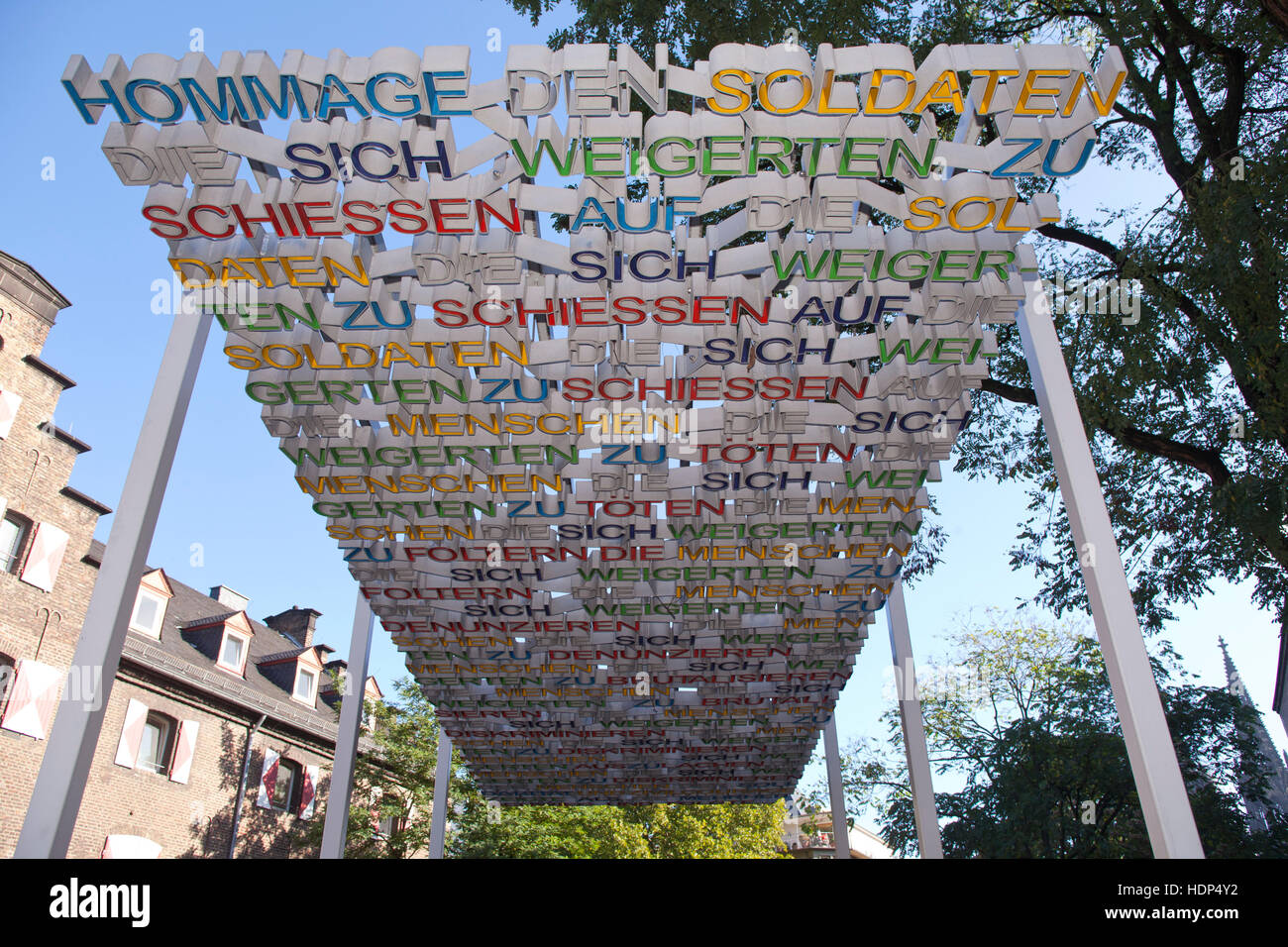 Germany, Cologne, monument for the victims of the German Nazi military justice by the Swiss artist Ruedi Baur - Stock Image